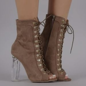 Lace Up Chunky Lucite Heeled Booties